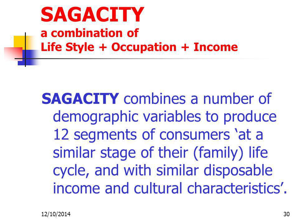 SAGACITY a combination of Life Style + Occupation + Income
