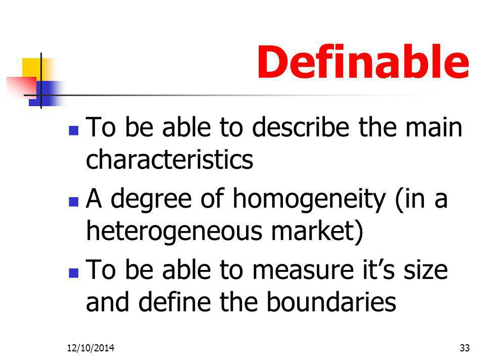 Definable To be able to describe the main characteristics