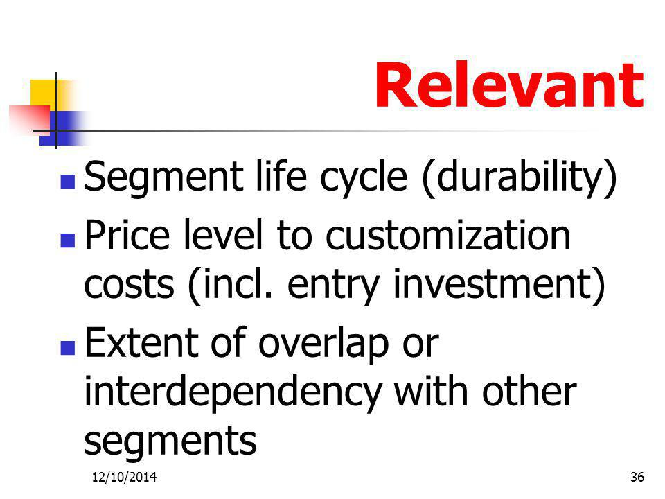 Relevant Segment life cycle (durability)