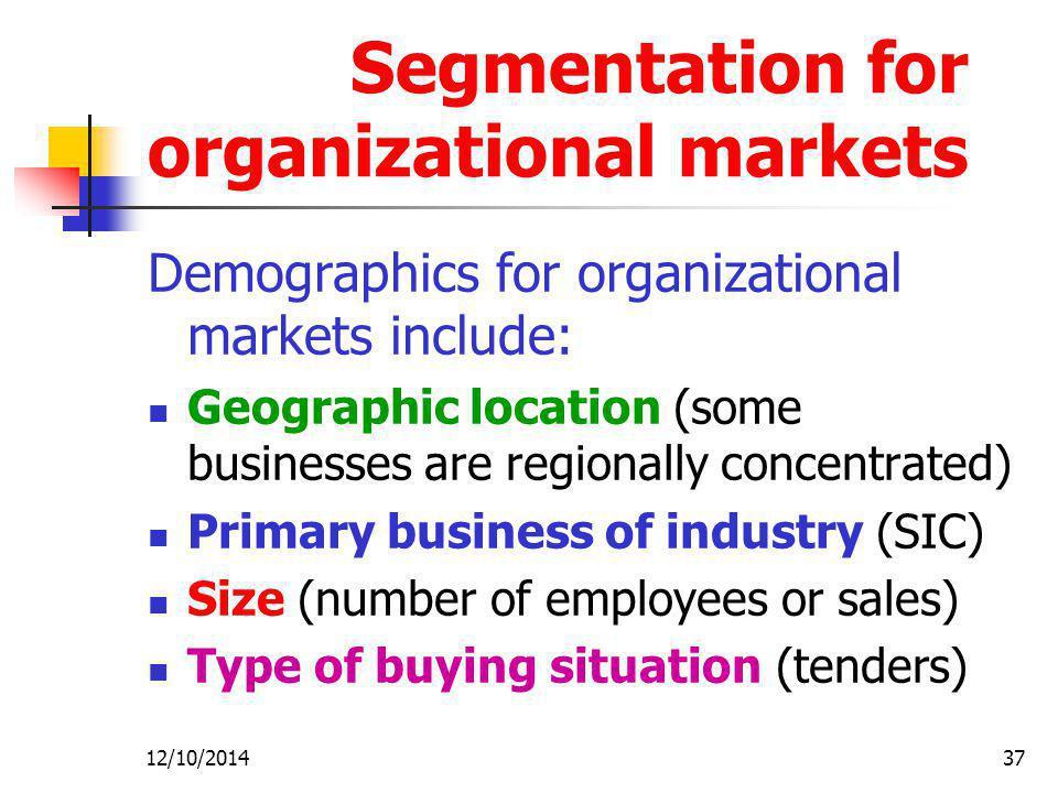 Segmentation for organizational markets