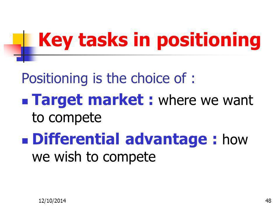 Key tasks in positioning
