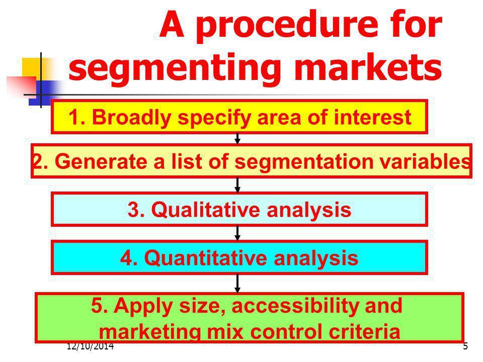 A procedure for segmenting markets