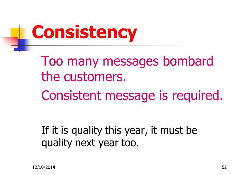 Consistency Consistent message is required.