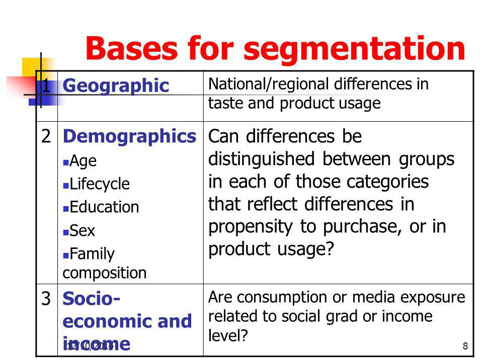 Bases for segmentation