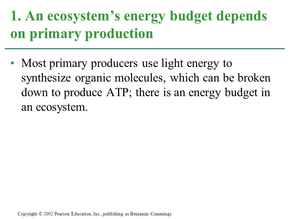 1. An ecosystem's energy budget depends on primary production