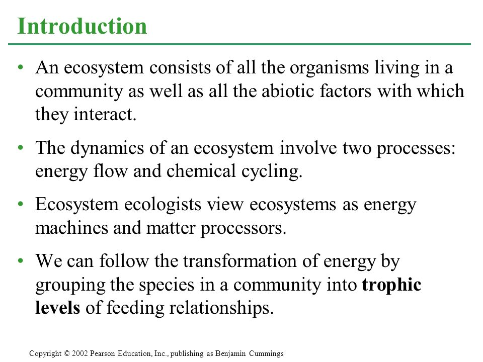 Introduction An ecosystem consists of all the organisms living in a community as well as all the abiotic factors with which they interact.