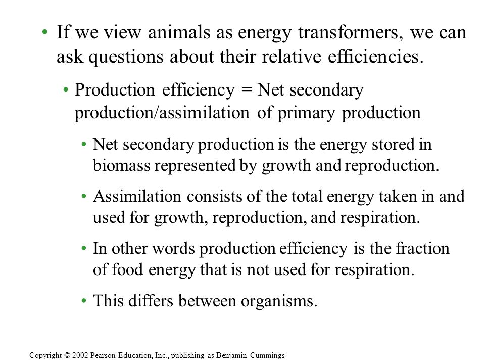 If we view animals as energy transformers, we can ask questions about their relative efficiencies.