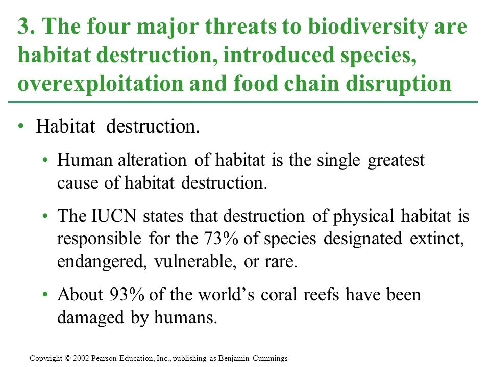 3. The four major threats to biodiversity are habitat destruction, introduced species, overexploitation and food chain disruption