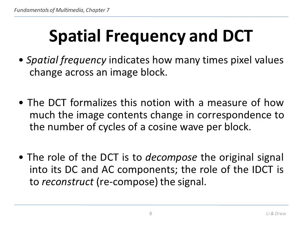 Spatial Frequency and DCT