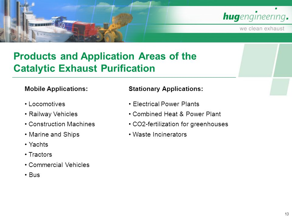 Products and Application Areas of the Catalytic Exhaust Purification