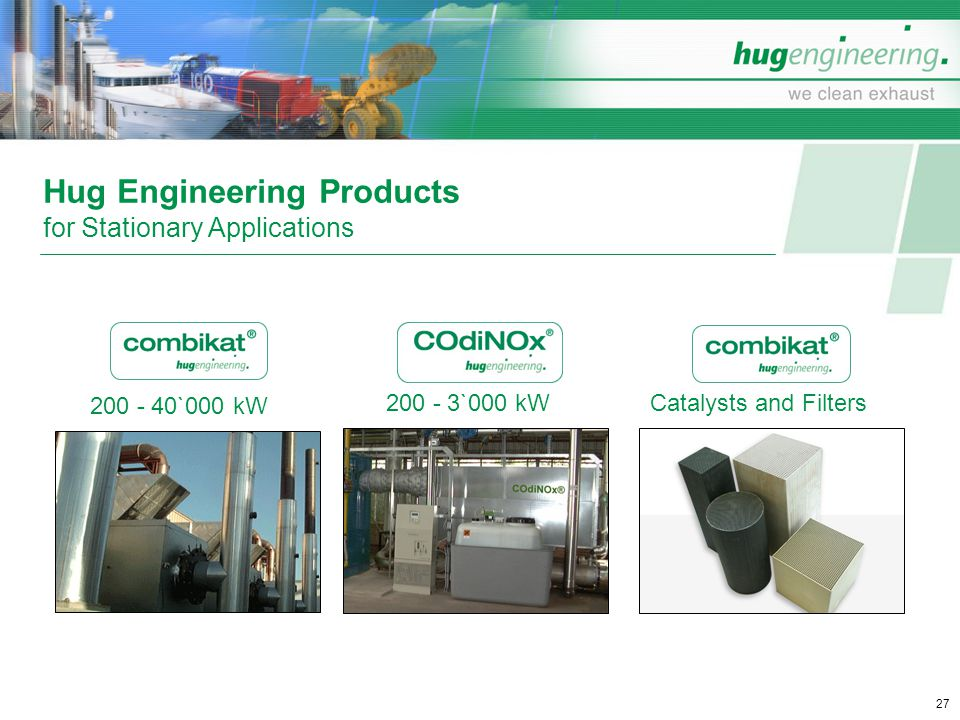 Hug Engineering Products for Stationary Applications