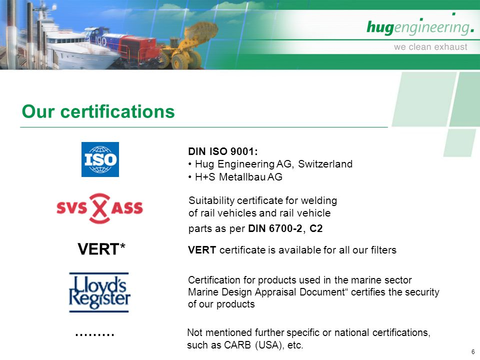 Our certifications VERT*