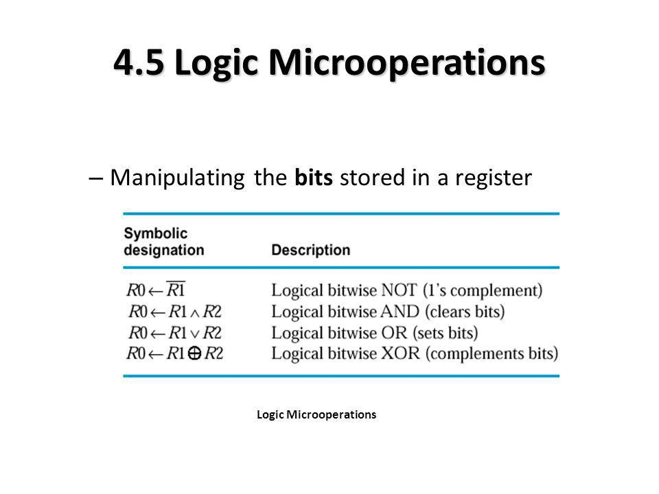 4.5 Logic Microoperations