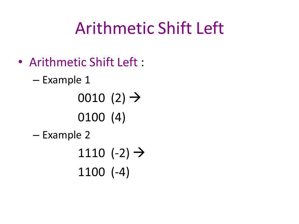 Arithmetic Shift Left Arithmetic Shift Left : 0010 (2)  0100 (4)