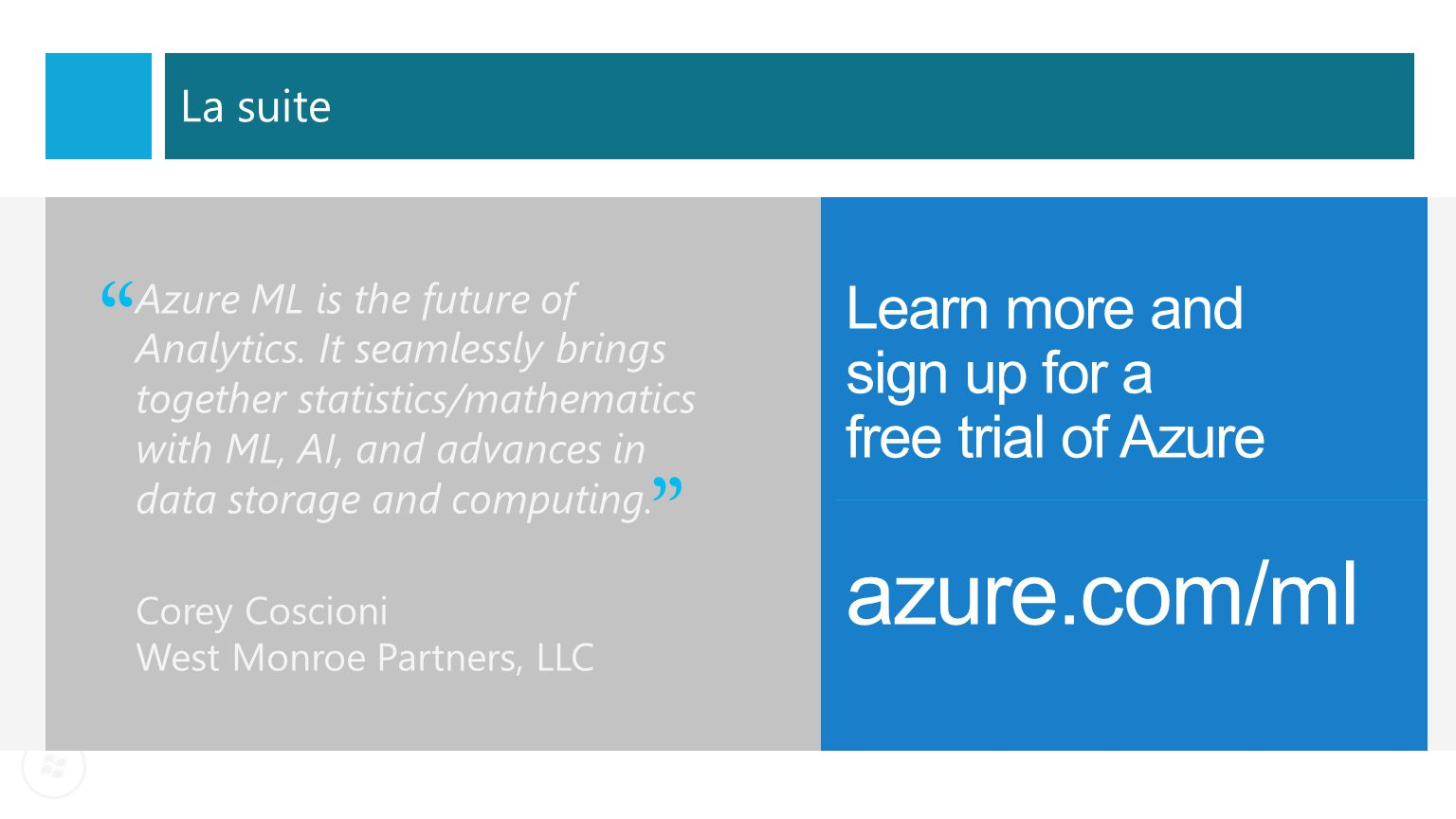 azure.com/ml Learn more and sign up for a free trial of Azure