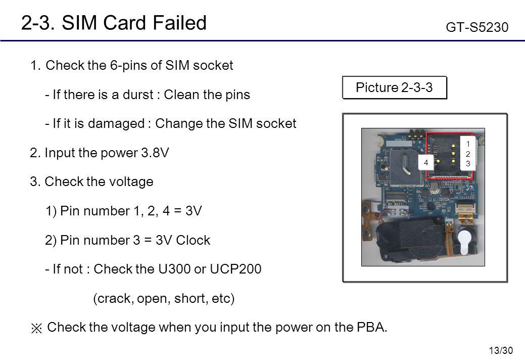 2-3. SIM Card Failed GT-S5230 Check the 6-pins of SIM socket