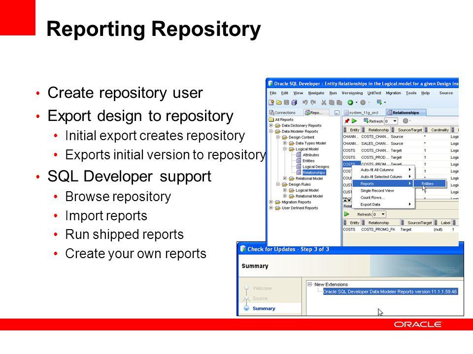 Reporting Repository Create repository user