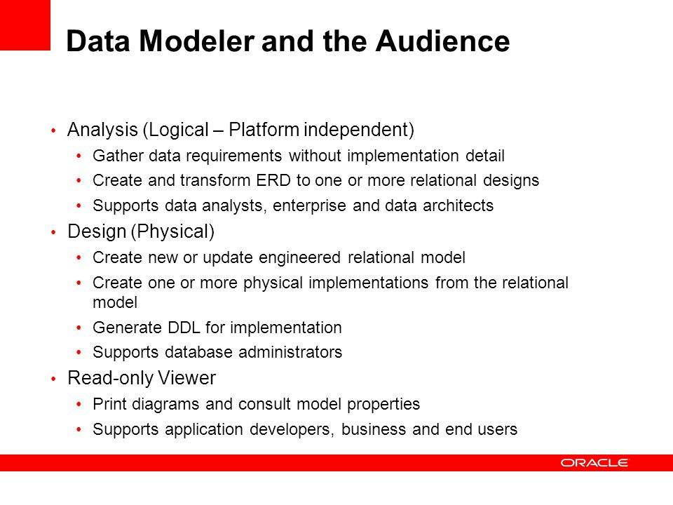 Data Modeler and the Audience