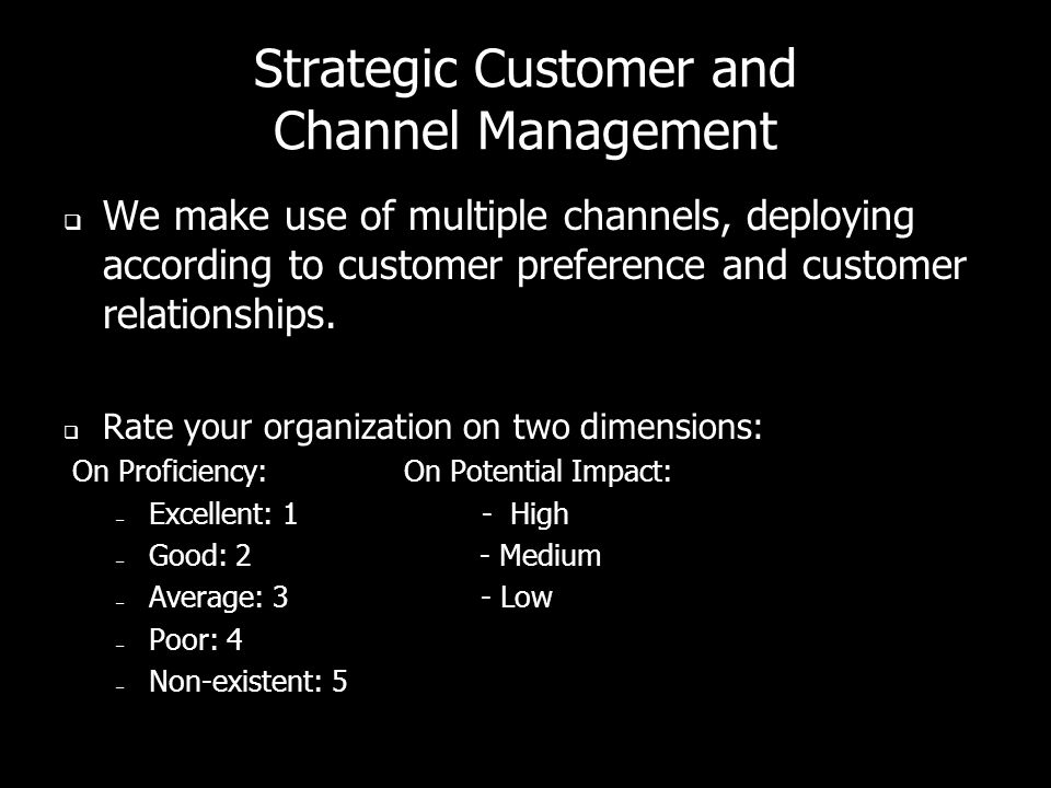 Strategic Customer and Channel Management