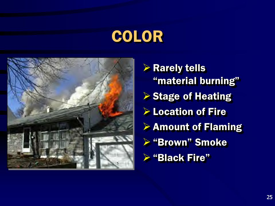 COLOR Rarely tells material burning Stage of Heating