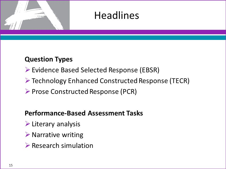 Headlines Question Types Evidence Based Selected Response (EBSR)