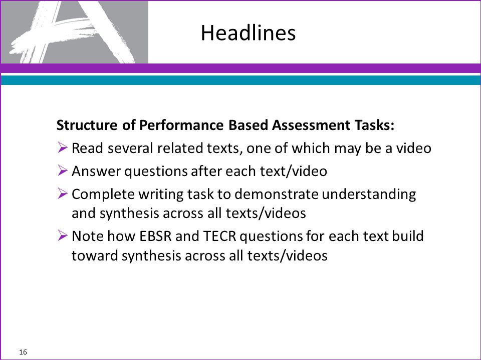Headlines Structure of Performance Based Assessment Tasks:
