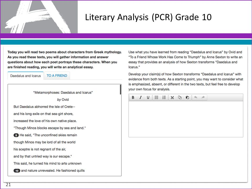 Literary Analysis (PCR) Grade 10