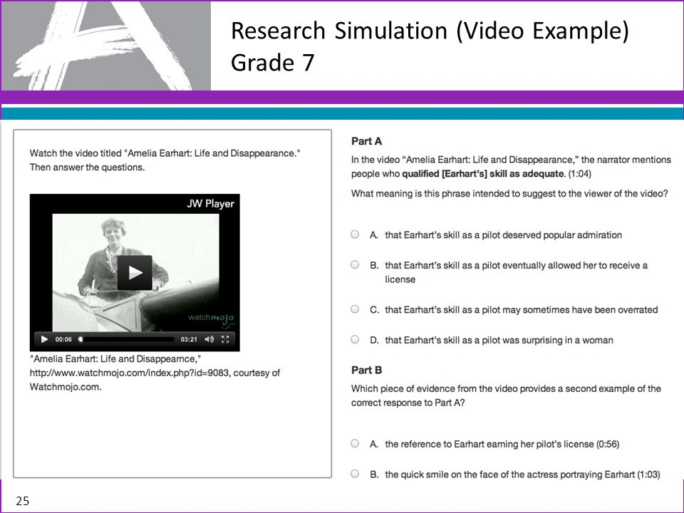 Research Simulation (Video Example) Grade 7