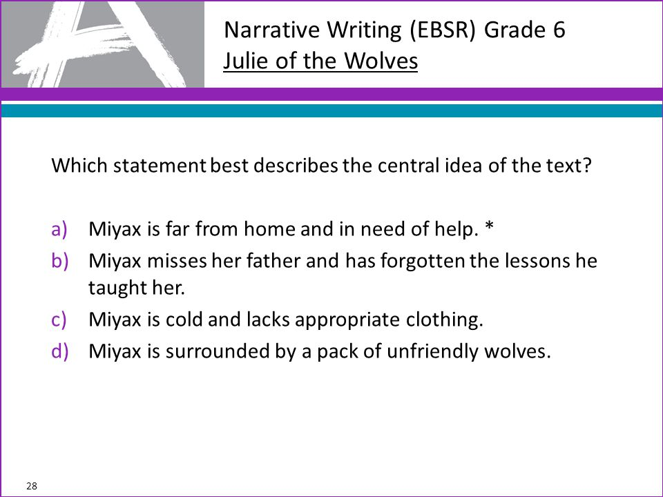 Narrative Writing (EBSR) Grade 6 Julie of the Wolves