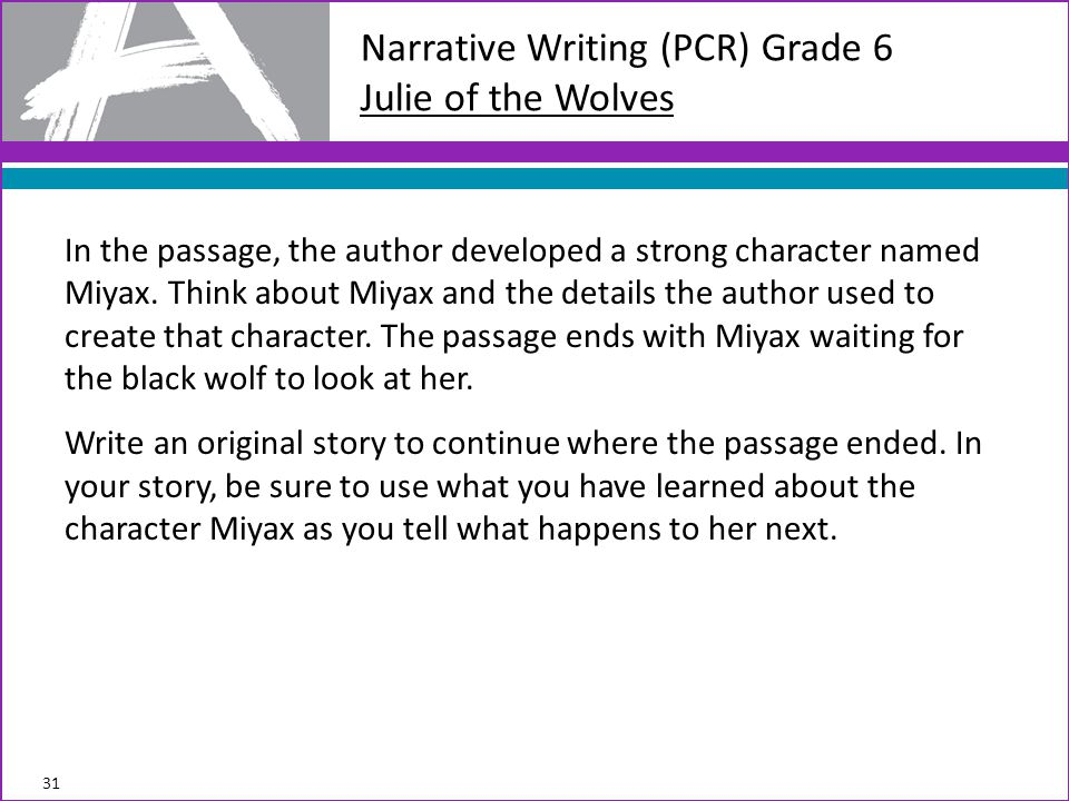 Narrative Writing (PCR) Grade 6 Julie of the Wolves