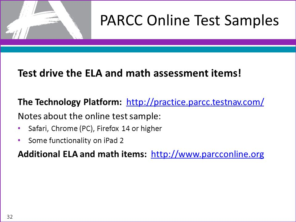 PARCC Online Test Samples