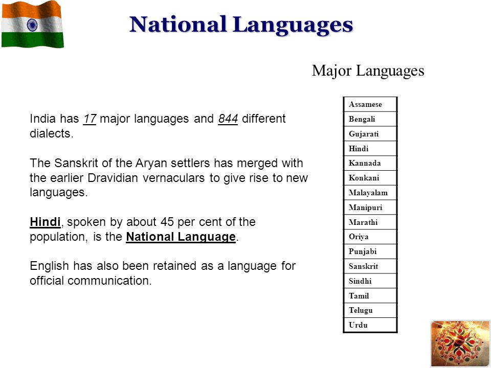 National Languages Major Languages