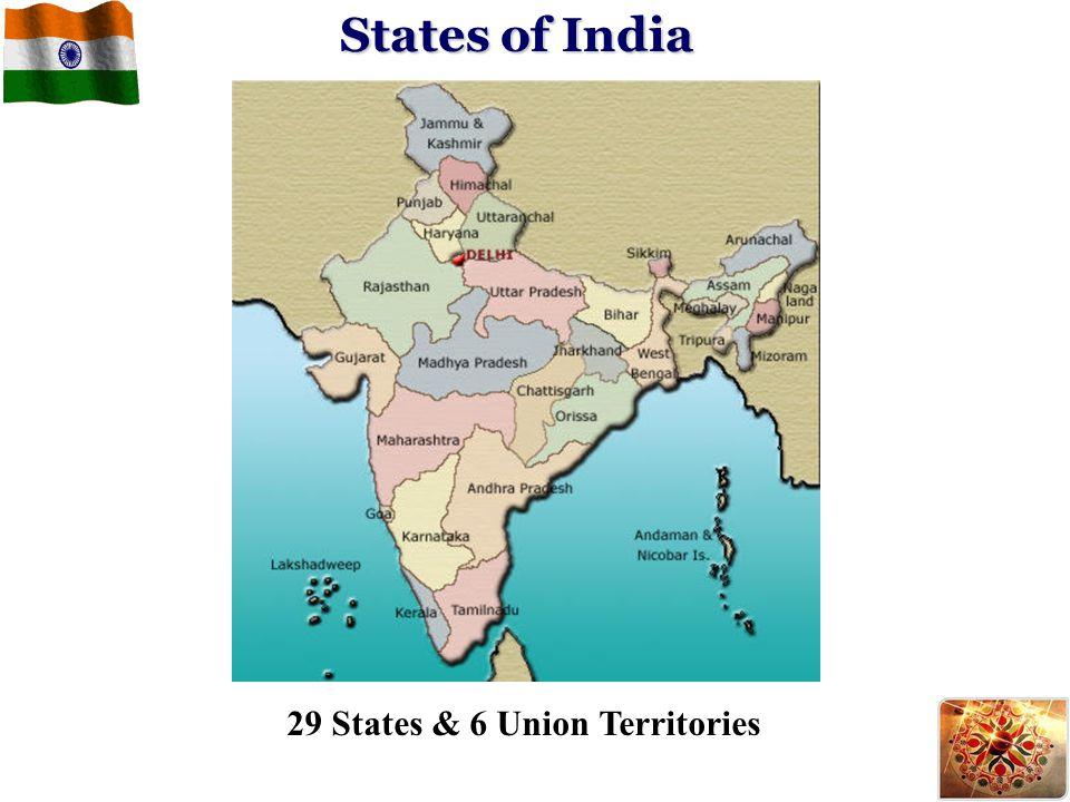 States of India 29 States & 6 Union Territories