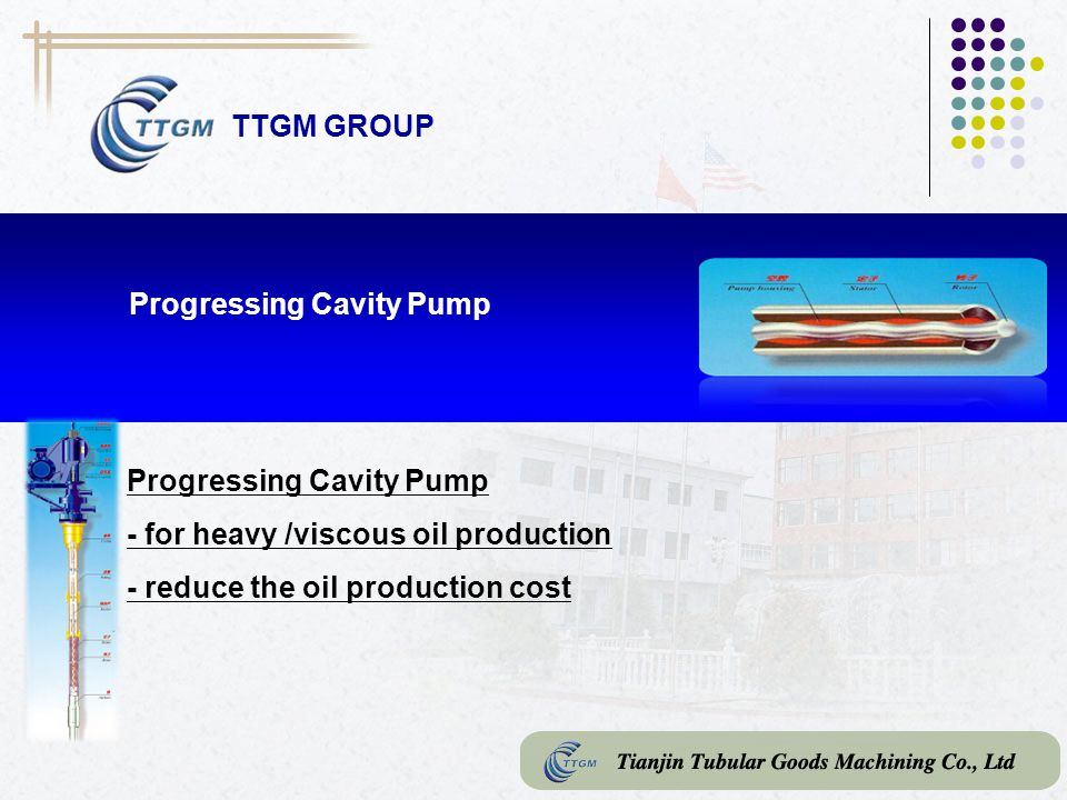 TTGM GROUP Progressing Cavity Pump. Progressing Cavity Pump. - for heavy /viscous oil production.