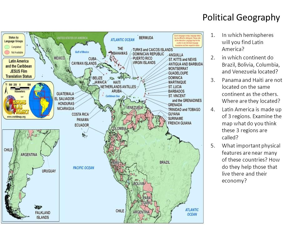 Political Geography In which hemispheres will you find Latin America