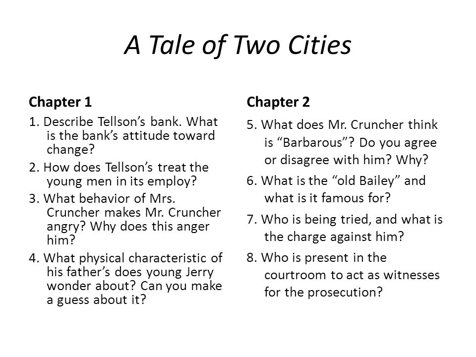 A Tale of Two Cities Chapter 1 Chapter 2