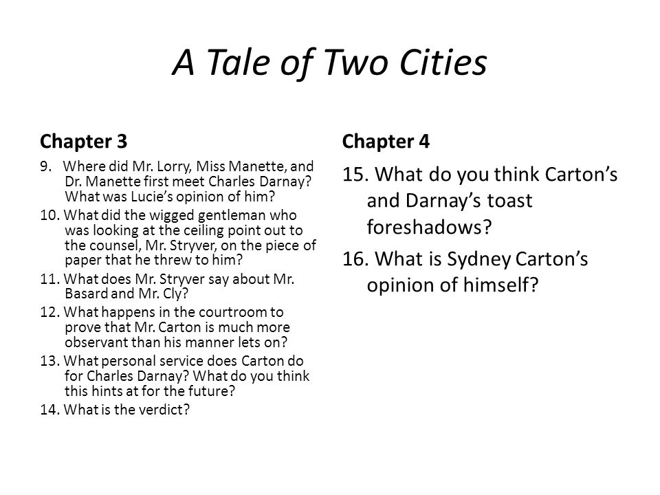 A Tale of Two Cities Chapter 3 Chapter 4