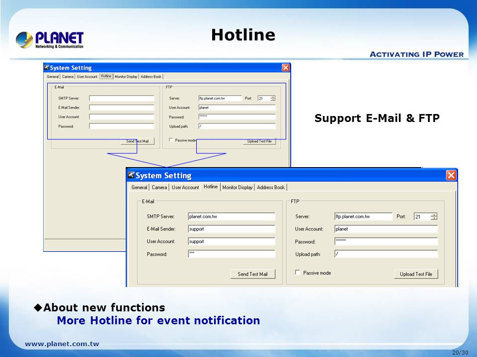 Hotline Support E-Mail & FTP About new functions