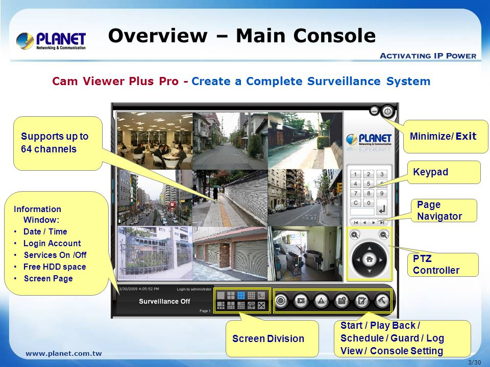 Overview – Main Console