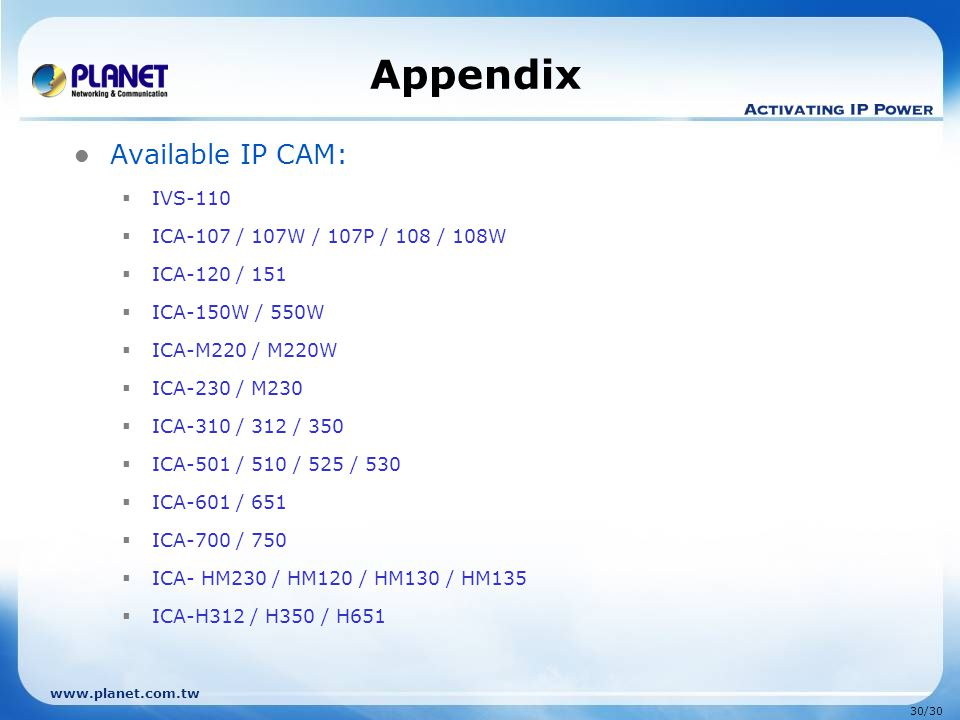Appendix Available IP CAM: IVS-110 ICA-107 / 107W / 107P / 108 / 108W