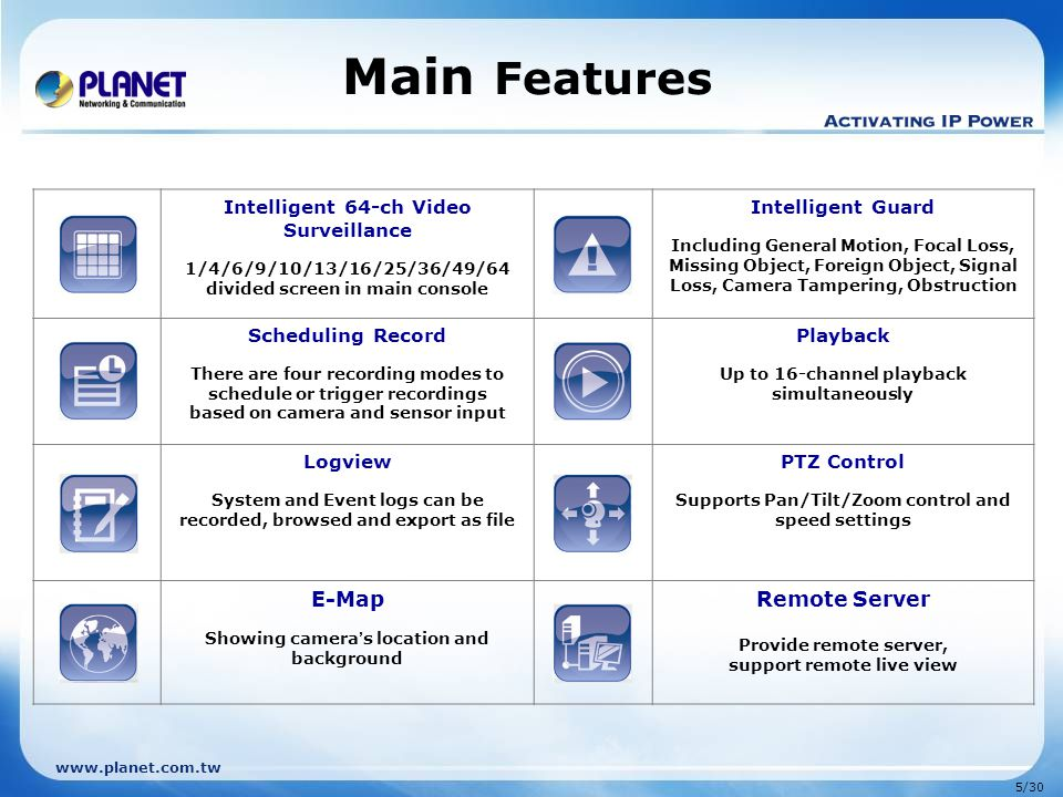 Main Features E-Map Remote Server Intelligent 64-ch Video Surveillance