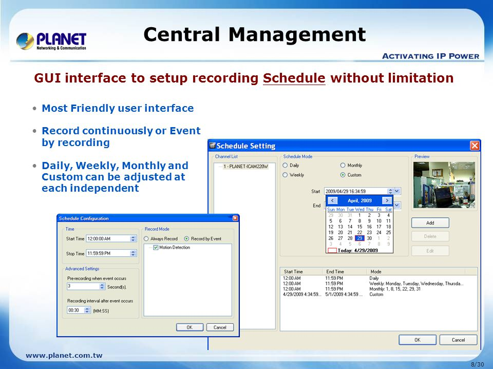 Central Management GUI interface to setup recording Schedule without limitation. Most Friendly user interface.