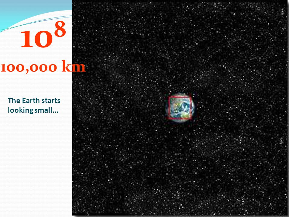 108 100,000 km The Earth starts looking small...