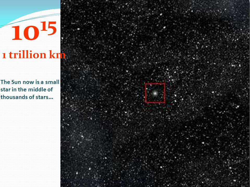 1015 1 trillion km The Sun now is a small star in the middle of thousands of stars...