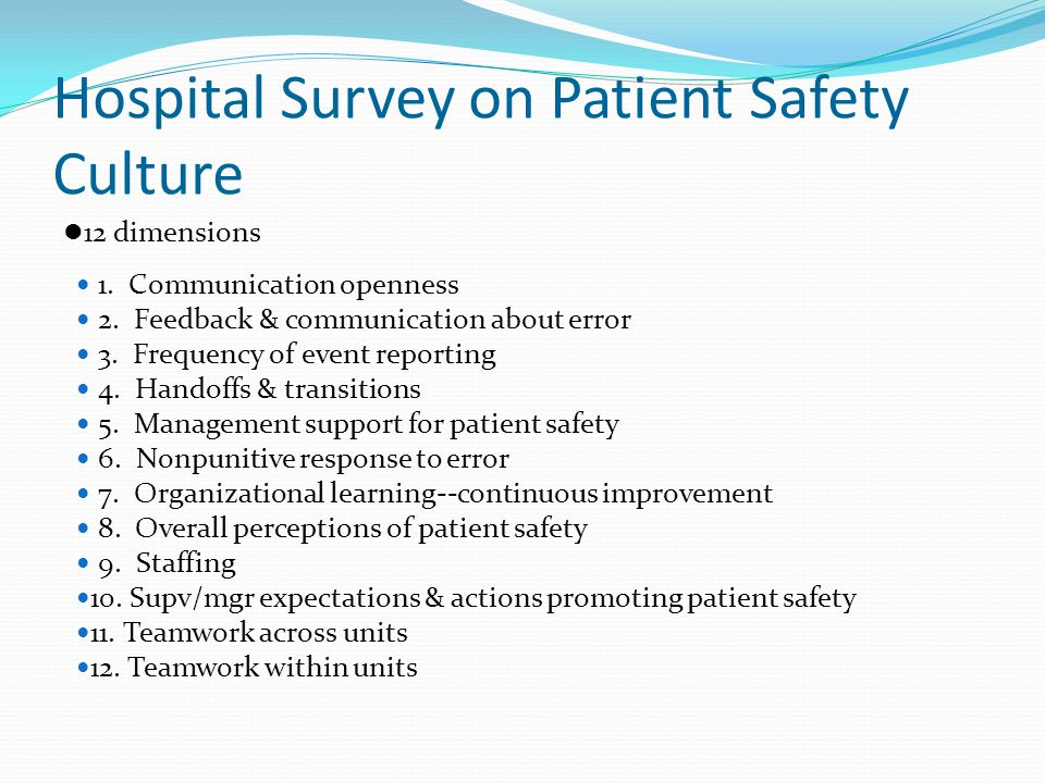 Hospital Survey on Patient Safety Culture