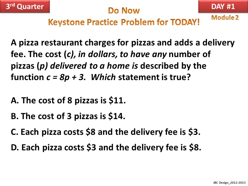 C. Each pizza costs $8 and the delivery fee is $3.