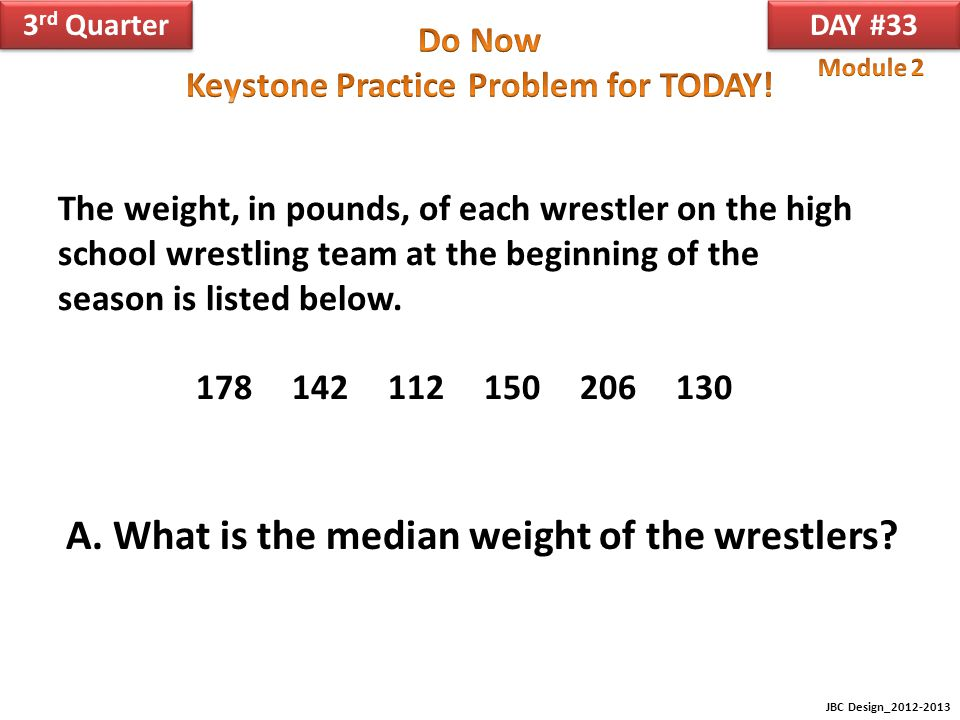 A. What is the median weight of the wrestlers
