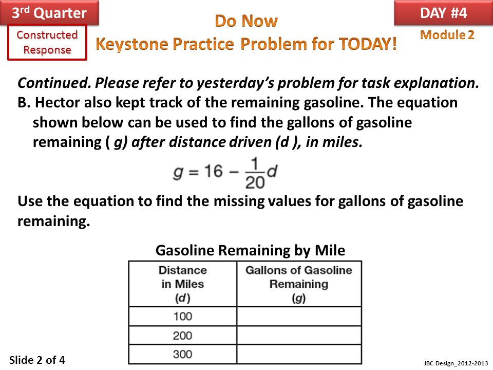 Gasoline Remaining by Mile