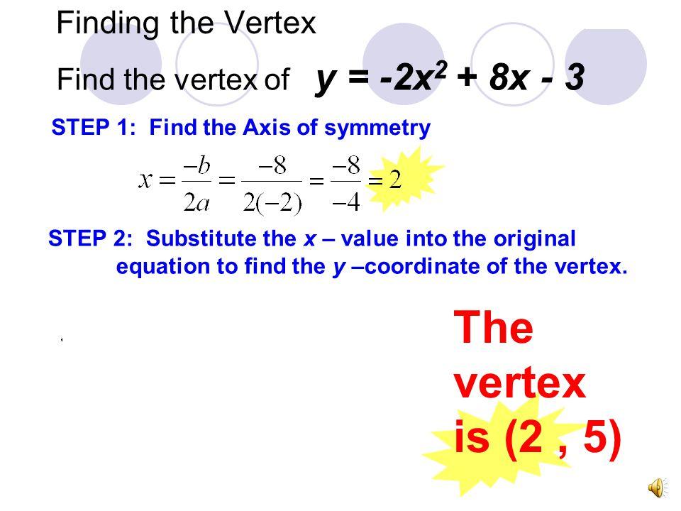 The vertex is (2 , 5) Finding the Vertex