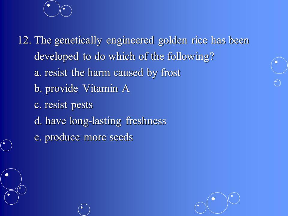 12. The genetically engineered golden rice has been